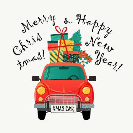 Christmas card design template. Red retro car with a fir tree and gifts. Vector illustration. Banque d'images - 110555669