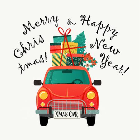 Design-Vorlage für Weihnachtskarten. Rotes Retro-Auto mit Tannenbaum und Geschenken. Vektor-Illustration.