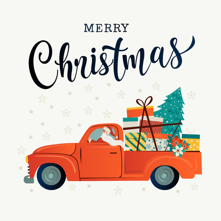 Merry christmas stylized typography. Vintage red car with santa claus christmas tree and gift boxes. Vector flat style illustration. Ilustrace