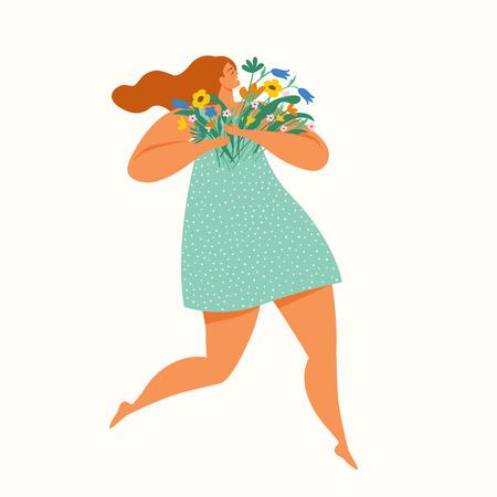 Niña feliz corriendo con un ramo de flores. Día Internacional de la Mujer. Ilustración de vector.
