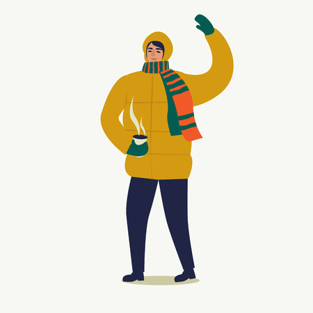 A man dressed in a down jacket with a cup of coffee. Merry Christmas and Happy New Year. People are preparing for the new year. Illustration