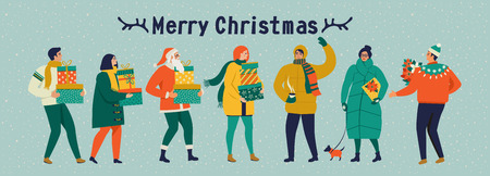 Merry Christmas and Happy New Year Celebration template with cute people in vintage style. Banque d'images - 111025716