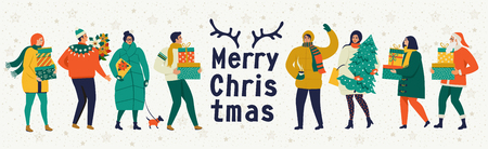 Merry Christmas and Happy New Year Celebration template with cute people in vintage style. Banque d'images - 111025717