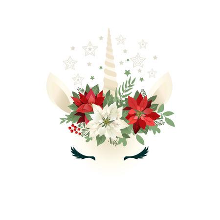 Hoofd van de hand getekende Eenhoorn met bloemen krans op witte achtergrond.