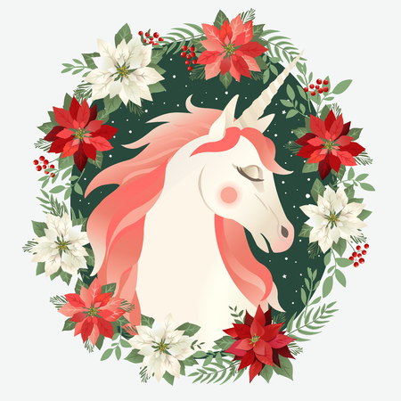 Head of hand drawn unicorn with floral wreath on white background. Banque d'images - 111200264
