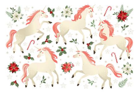 Tarjeta de Navidad con unicornio, ilustración vectorial sobre fondo de flor de Pascua