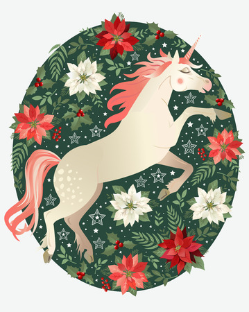 Head of hand drawn unicorn with floral wreath on white background Banque d'images - 111309978