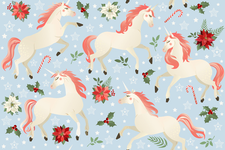 Unicorns on a Christmas floral background Seamless pattern.  イラスト・ベクター素材