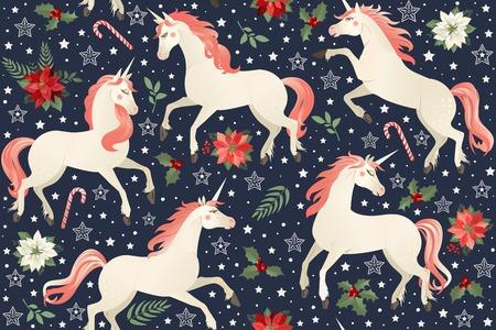 Unicorns on a Christmas floral background Seamless pattern. Foto de archivo - 133672562