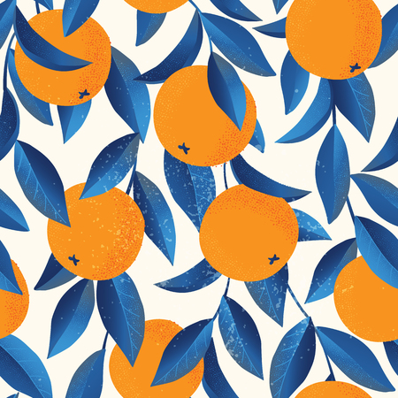 Tropical seamless pattern with oranges Fruit repeated background. Vector bright print for fabric or wallpaper. Ilustrace