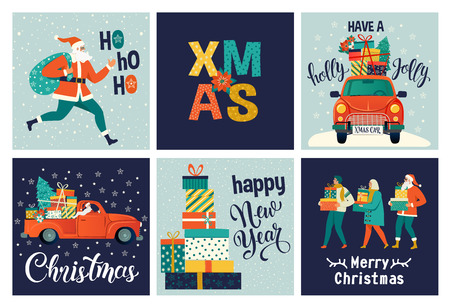 Collection of cute Merry Christmas and Happy New Year for use gift cards. Set of printable hand drawn holiday posters templates. Vector seasonal postcard design Ilustracja