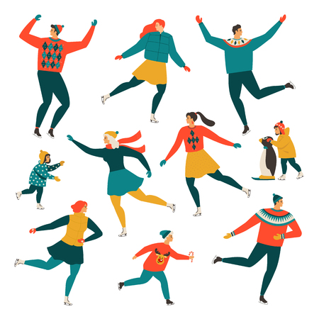 Crowd of tiny people dressed in winter clothes ice skating on rink. Men, women and children in seasonal outerwear on ice skates having fun outdoors. Colorful vector illustration in flat retro style