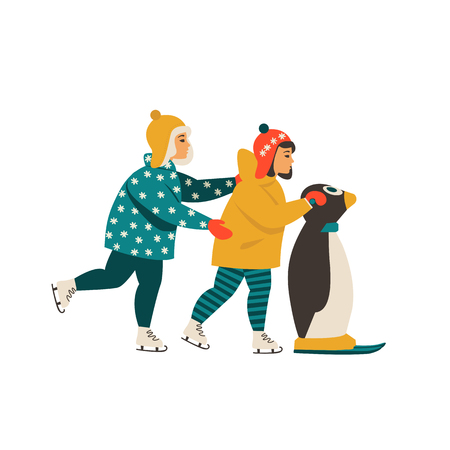 Children learn ice skating while holding on to the penguin Ilustracja
