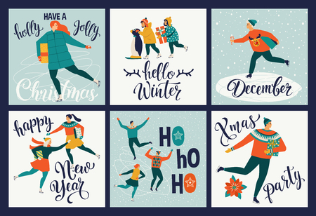 Collection of cute Merry Christmas and Happy New Year greeting cards. People skate on the rink holiday posters templates, postcard design. Vector illustration. Ilustracja
