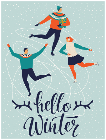 People are skating together Hello winter. Vector illustration. Ilustracja