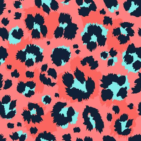 Leopard Muster Design lustige Zeichnung nahtlose Muster. Schriftzug Poster oder T-Shirt Textil-Grafik-Design-Tapeten-Packpapier.