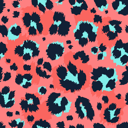 Leopard pattern design funny drawing seamless pattern. Lettering poster or t-shirt textile graphic design wallpaper wrapping paper.