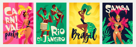 Brazilian annual carnival festival celebrations realistic colorful posters set with traditional musical instruments costumes isolated vector illustration.