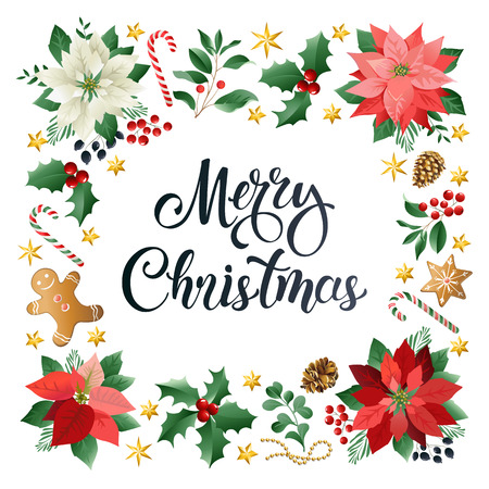 Christmas greeting card with Calligraphic Season Wishes and Composition of Festive Elements such as Cookies, Candies, Berries, Christmas Tree Decorations, Pine Branches. Banque d'images - 112399132