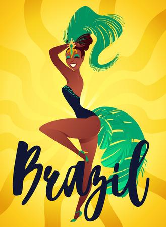 Carteles de samba brasileña. Bailarines del carnaval de Río de Janeiro con un traje de fiesta es bailar. Ilustración de vector.