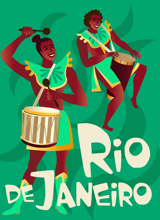 Brazilian samba posters Carnival in Rio de Janeiro dancers wearing a festival costume is dancing. Vector illustration. Banque d'images - 112401018