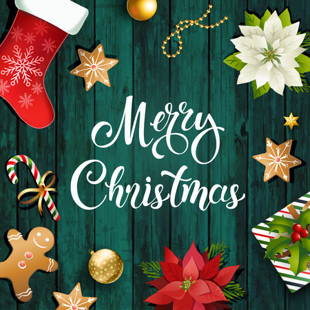 Christmas sale design composition of poinsettia, fir branches, cones, gingerbread candy cane, holly and other plants. Cover, invitation, banner and greeting card. Standard-Bild - 127545497