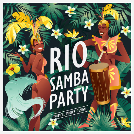 Brazilian samba dancer Carnival in Rio de Janeiro girls and guy wearing a festival costume is dancing. Vector illustration. Ilustração