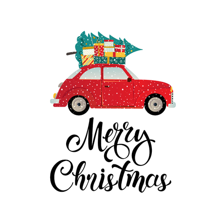 Merry christmas stylized typography. Vintage red car christmas tree and gift boxes. Vector flat style illustration.