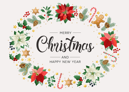 Christmas postcard with Calligraphic Season Wishes and Composition of Festive Elements such as Cookies, Candies, Berries, Christmas Tree Decorations. Vector illustration. Banque d'images - 112612272