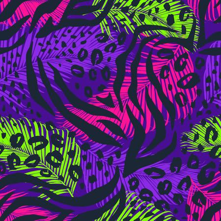 Patrón transparente geométrico abstracto con estampado animal. Texturas dibujadas a mano de moda.