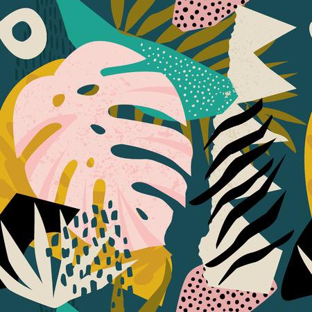 Collage patrón hawaiano floral contemporáneo en vector. Diseño de superficie sin costuras.