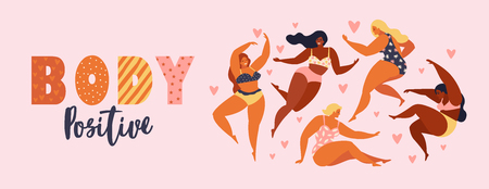 Body positive. Happy plus size girls and active healthy lifestyle Vector illustration.