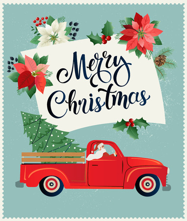 Merry Christmas and Happy New Year Postcard or Poster or Flyer template with retro pickup truck with christmas tree Vintage styled vector illustration. Ilustracja