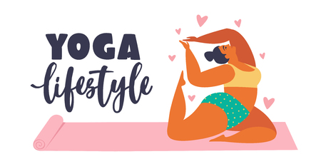 Plus size young women doing fitness, yoga, forward split. Body love lifestyle healthcare illustration. Isolated on white background.