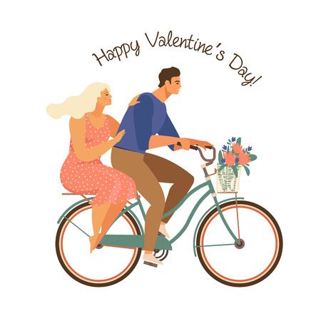 Happy couple is riding a bicycle together and happy valentines day. Illustration vector of Love and Valentine Day. Иллюстрация