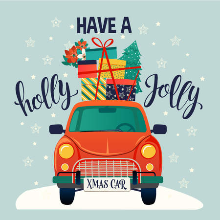Merry christmas stylized typography. Vintage red car with christmas tree and gift boxes Vector flat style illustration. Ilustracja
