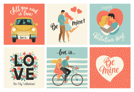 Collection of designs with cute loving couples. Valentines day card and other flyer templates with lettering. Typography poster, card, label, banner design set Foto de archivo - 126973811