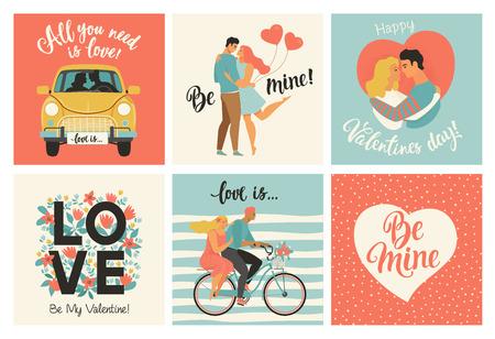 Sammlung von Designs mit süßen Liebespaaren. Valentinstagskarte und andere Flyer-Vorlagen mit Schriftzug. Typografie-Poster, Karte, Etikett, Banner-Design-Set