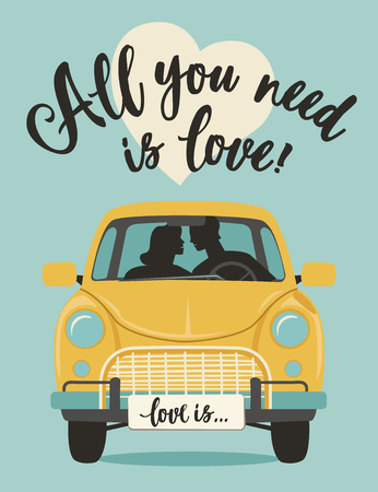 Valentines Day Lettering. Handwritten Romantic Greeting Vector Card with Text. All you need is love