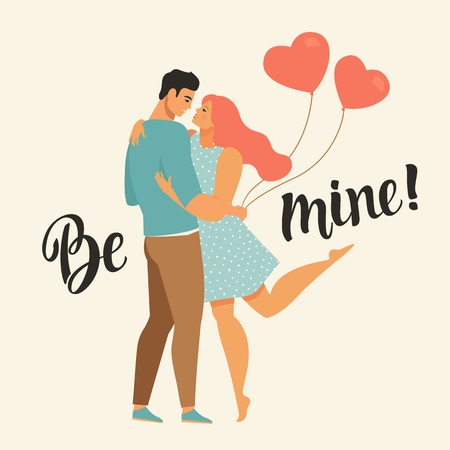 Valentines day vector illustration with young couple in love. Boyfriend and girlfriend smile and hug Cute lovers with heart shaped balloons.
