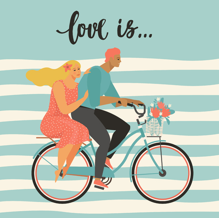 Happy couple is riding a bicycle together and happy valentines day Illustration vector of Love and Valentine Day Stockfoto - 126893809