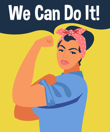 We Can Do It. Iconic womans symbol of female power and industry. Feminism concept girl showing fist symbol of female power and woman rights.