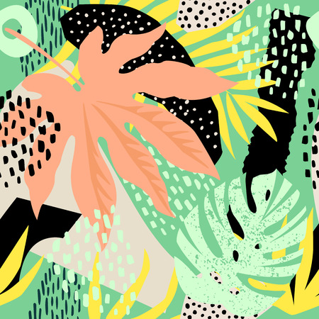 Abstract seamless pattern with tropical leaves. Hand draw texture Vector template. Banque d'images - 113661033