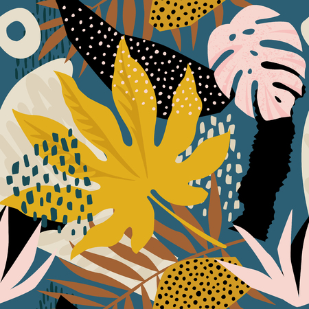 Trendy seamless exotic pattern with tropical plants and animal prints. Vector illustration. Modern abstract design for paper, wallpaper, cover, fabric, Interior decor. Çizim