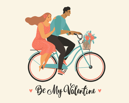Happy couple is riding a bicycle together and happy valentines day Illustration vector of Love and Valentine Day. Ilustracja
