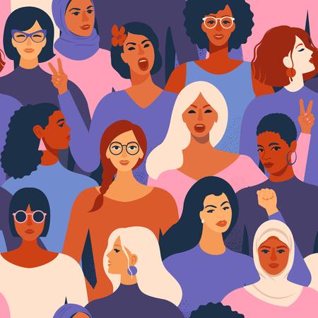 Weibliche verschiedene Gesichter des nahtlosen Musters der unterschiedlichen Ethnie. Frauen-Empowerment-Bewegungsmuster International Womens Day Grafik in Vektor.