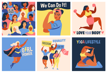 International Womens Day. We Can Do It poster. Strong girl. Symbol of female power, woman rights, protest, feminism. Vector colorful banners woman in retro style