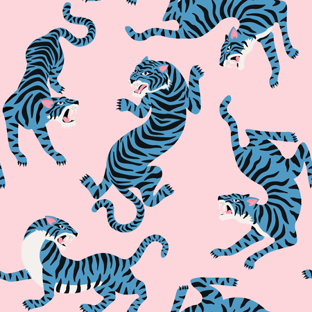 Modèle sans couture de vecteur avec des tigres mignons sur fond. Spectacle d'animaux de cirque Conception de tissu à la mode.