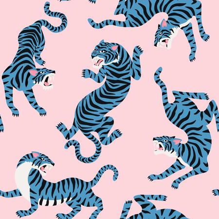 Patrón transparente de vector con lindos tigres en el fondo. Espectáculo de animales de circo Diseño de tela de moda.