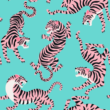 Vector seamless pattern with cute tigers on background. Circus animal show Fashionable fabric design.
